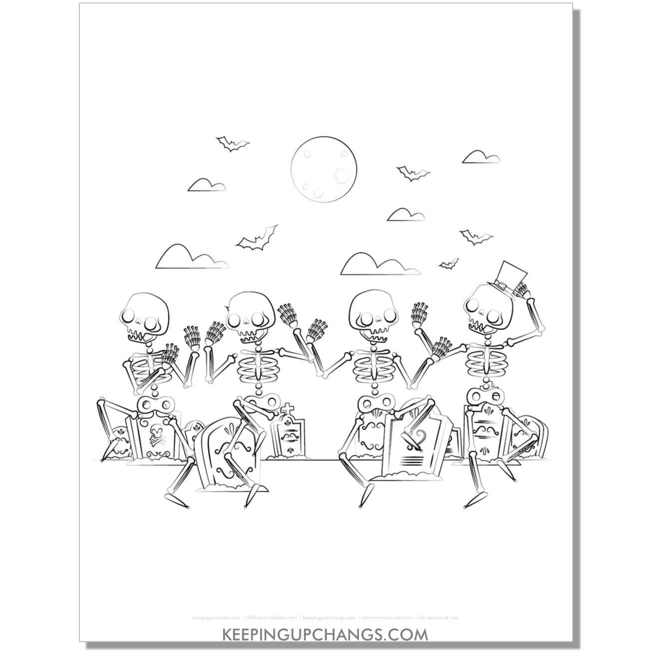 free happy, dancing skeleton doodle coloring page.