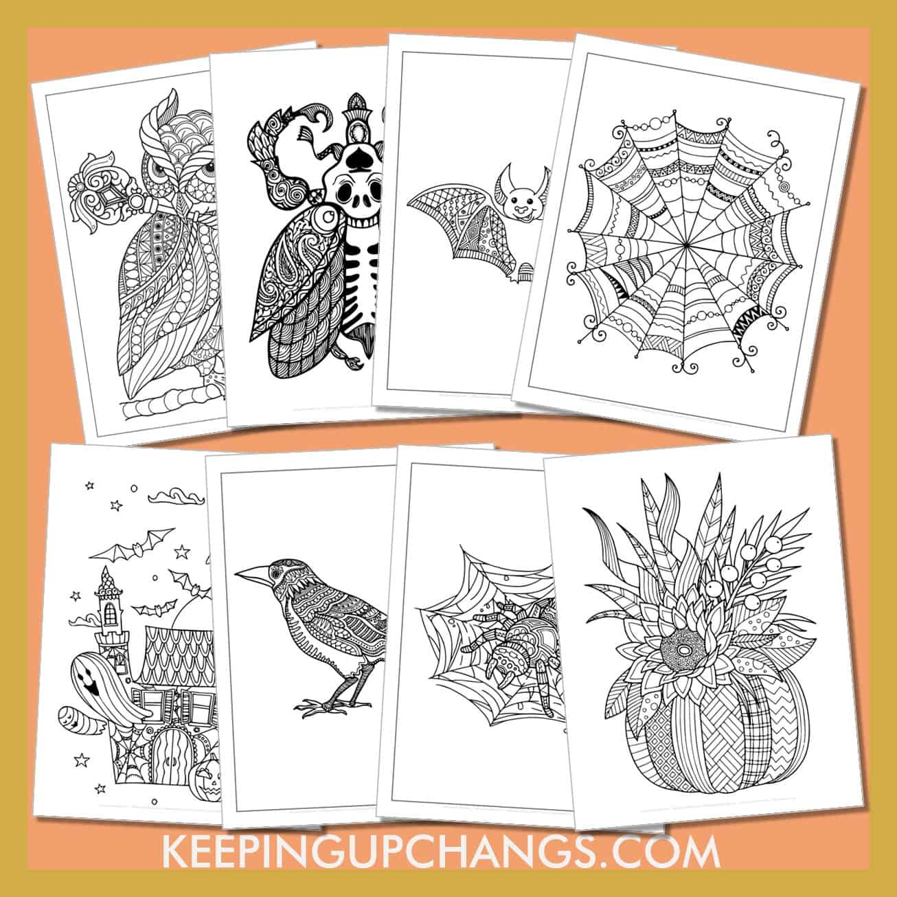 adult halloween colouring sheets including zentangle pumpkin, haunted house.