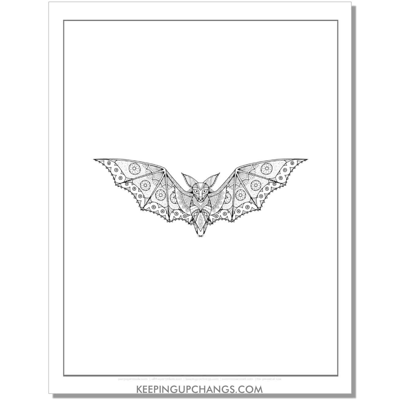 realistic bat mandala adult halloween coloring page.