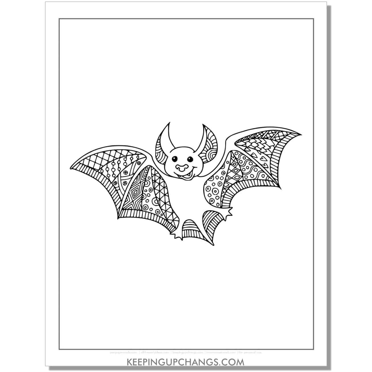 cute bat zentangle adult halloween coloring page.