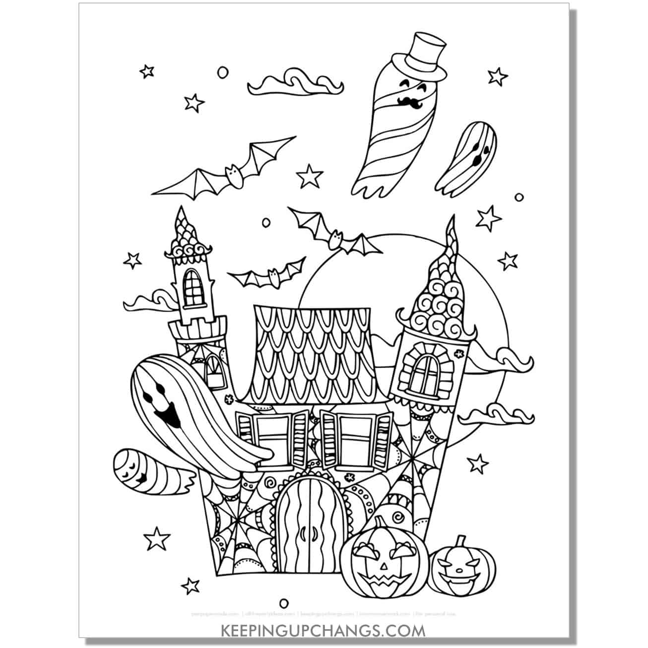 cute haunted house with ghosts, bats adult halloween coloring page.