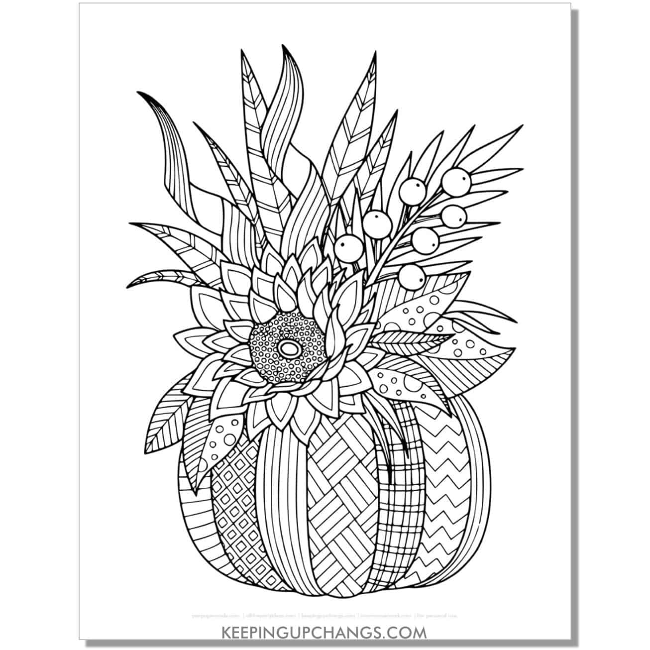 fall pumpkin zentangle with leaves, sunflower adult halloween coloring page.