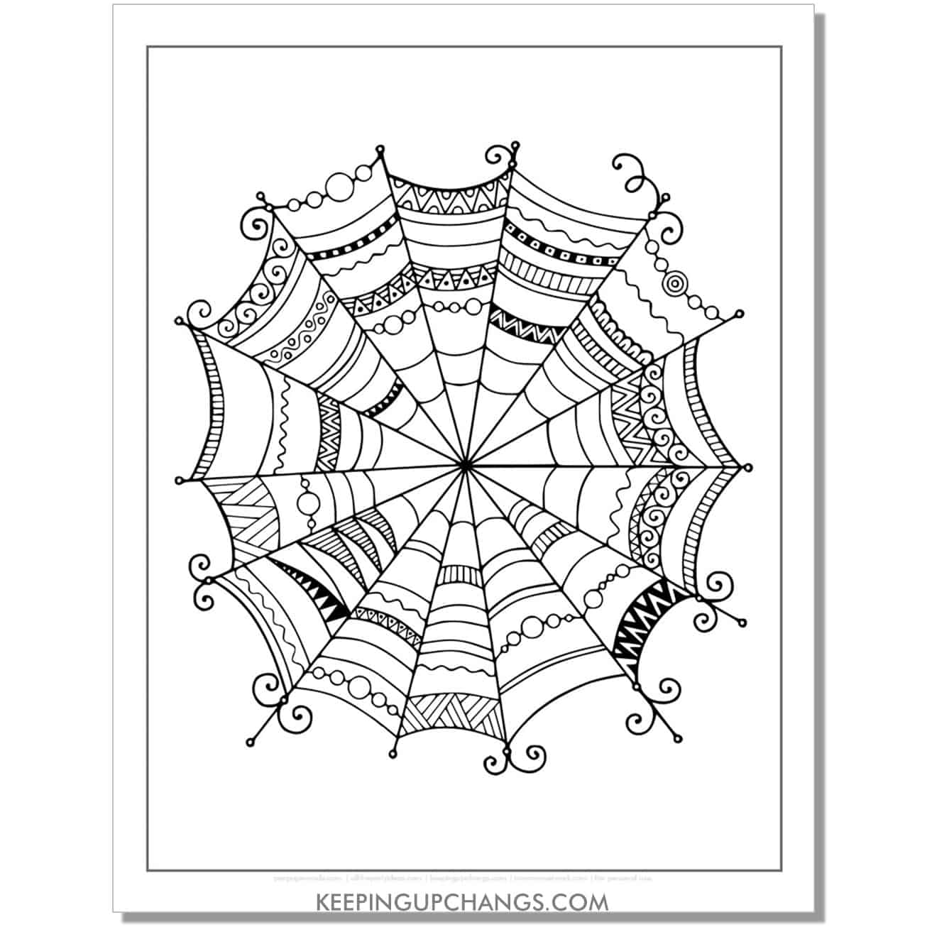 simple zentangle spider web adult halloween coloring page.