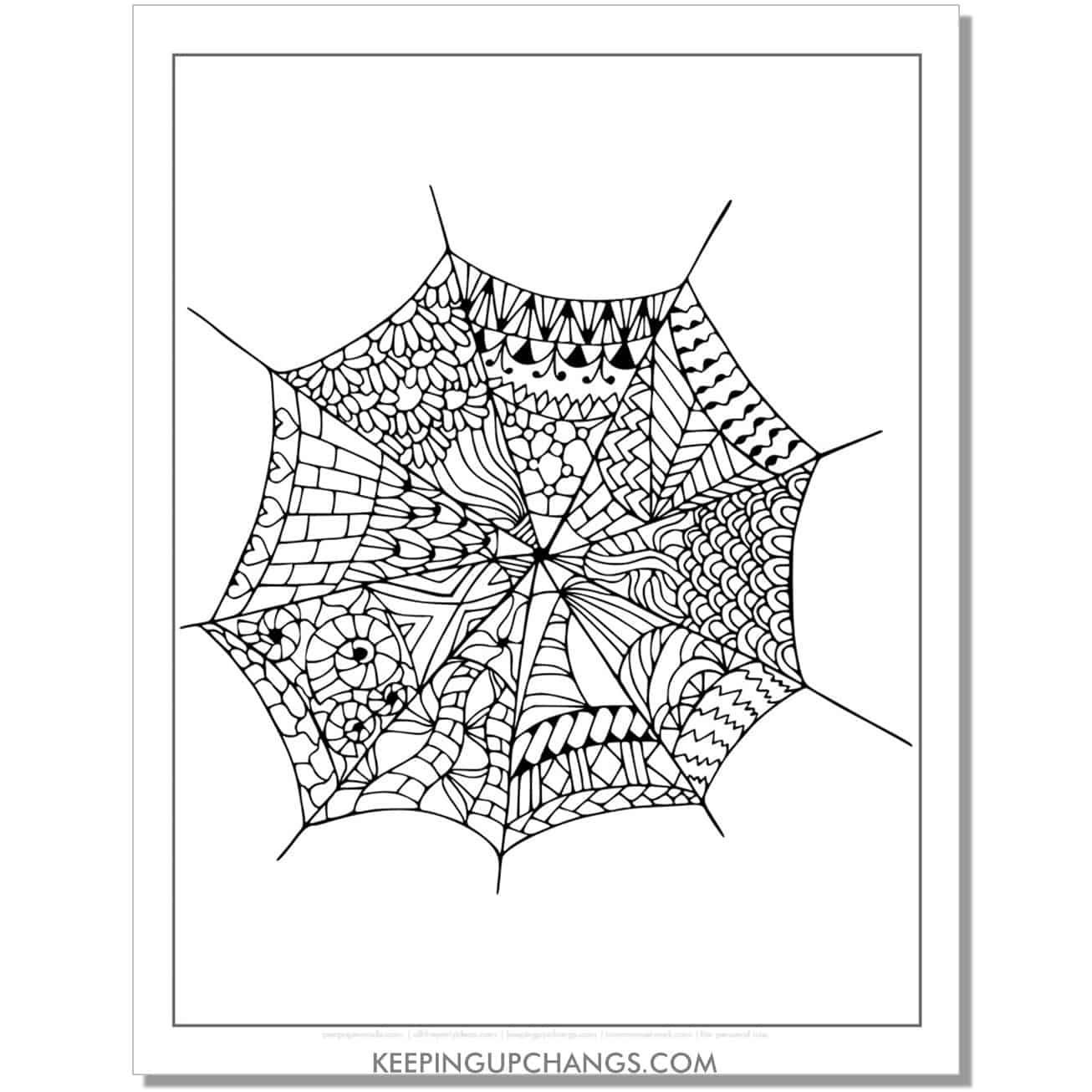 detailed mandala web zentangle adult halloween coloring page.
