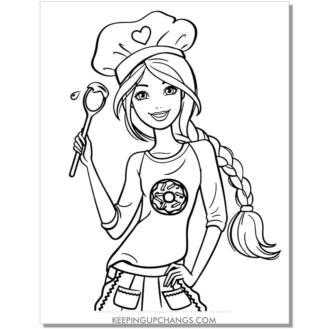 barbie in chef hat, baking spoon, donut t-shirt coloring page.
