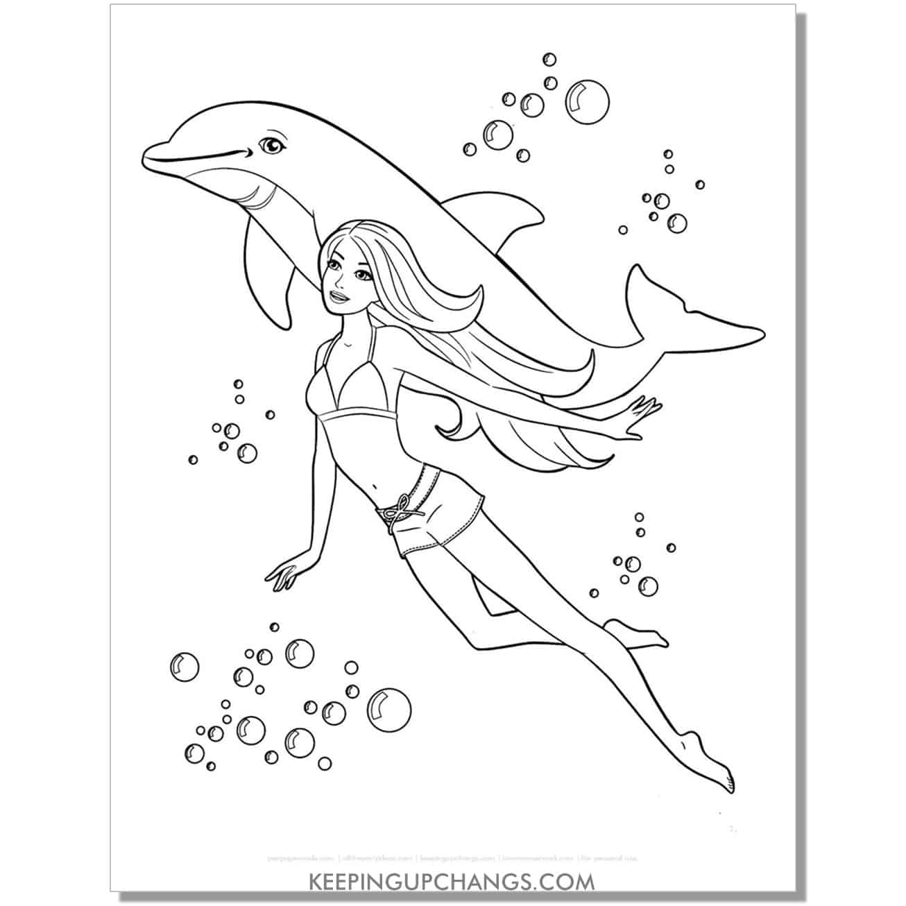 barbie swimming with dolphin coloring page.