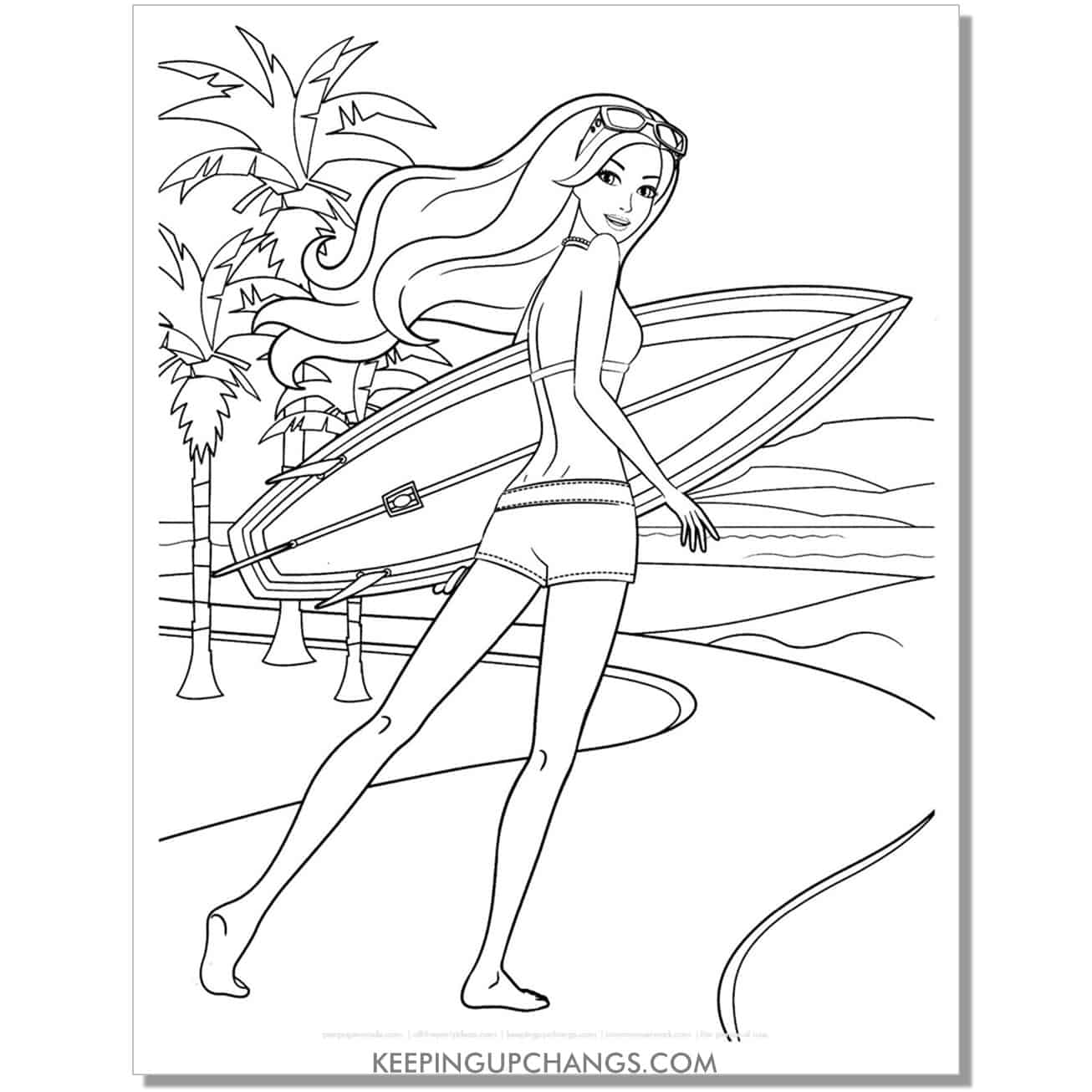barbie with surfboard and goggles walking on path coloring page.