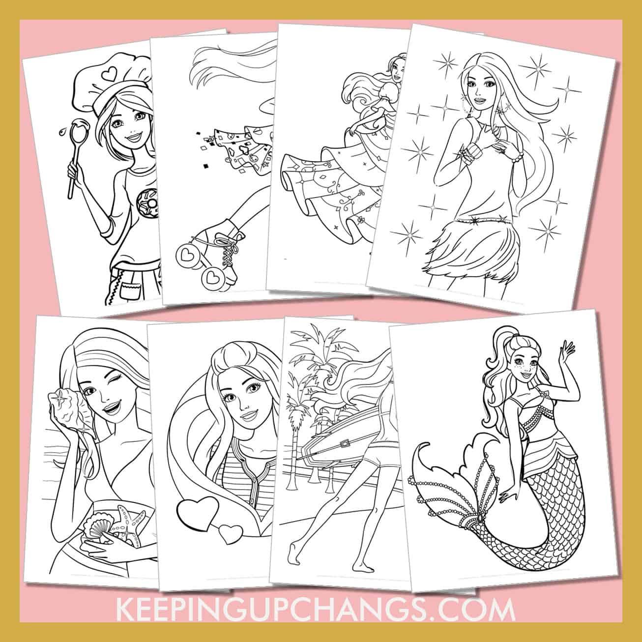 barbie colouring sheets including fashion, princess, mermaid, pop star.