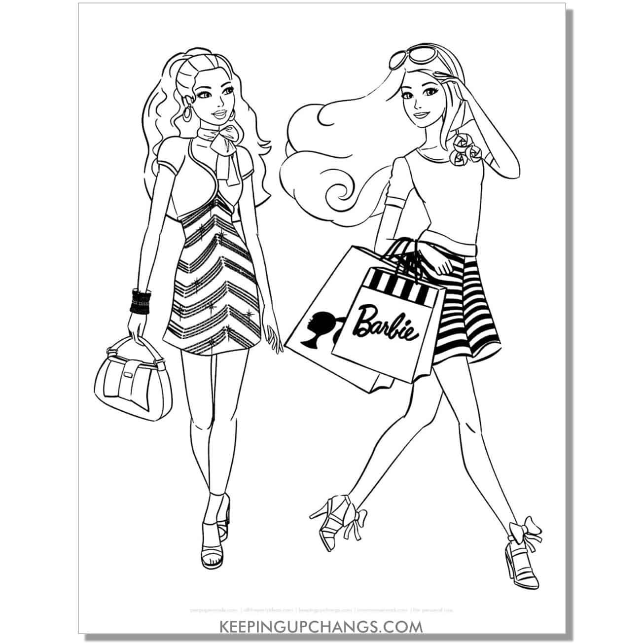 barbie shopping with friend coloring page.