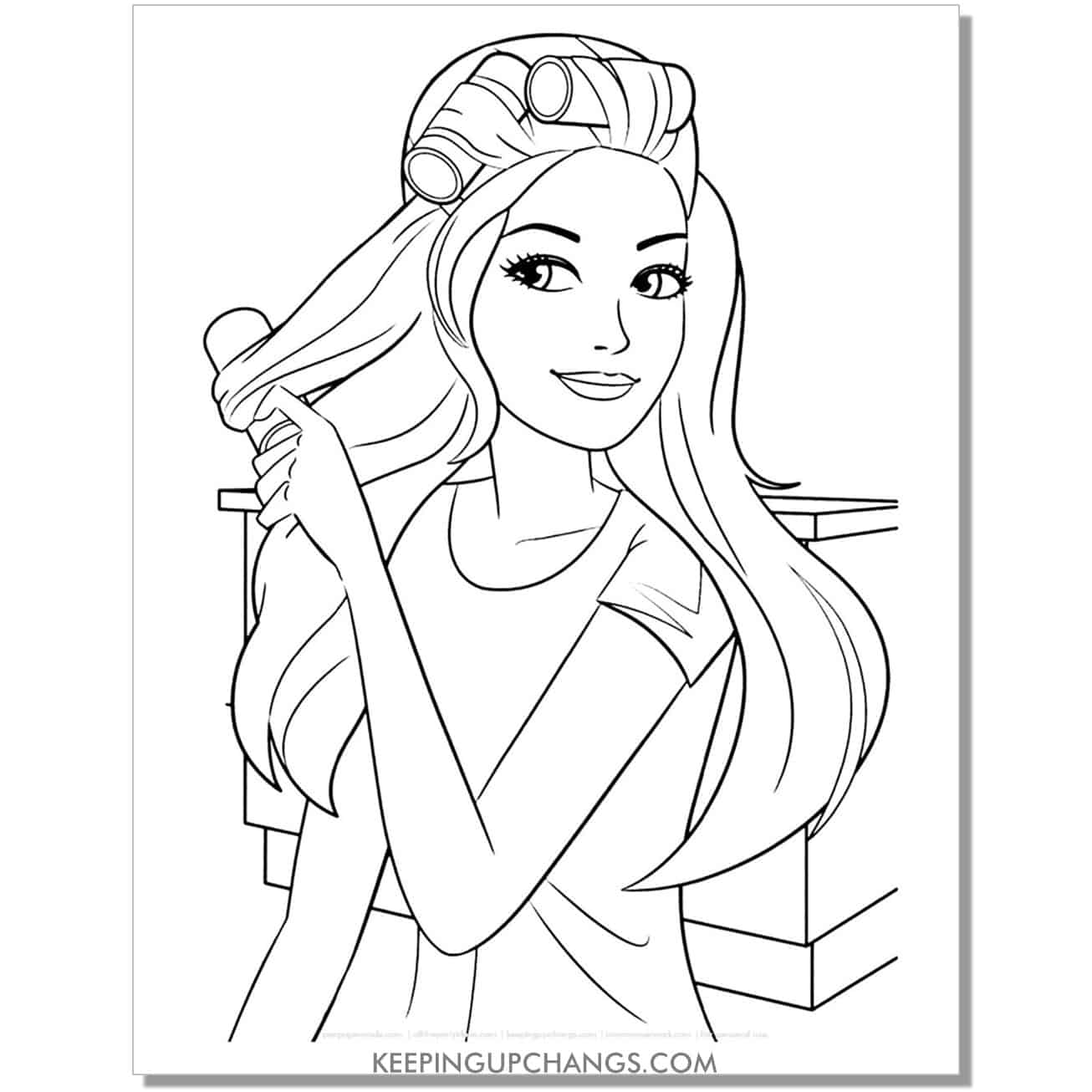 barbie pulling curlers out of hair coloring page.