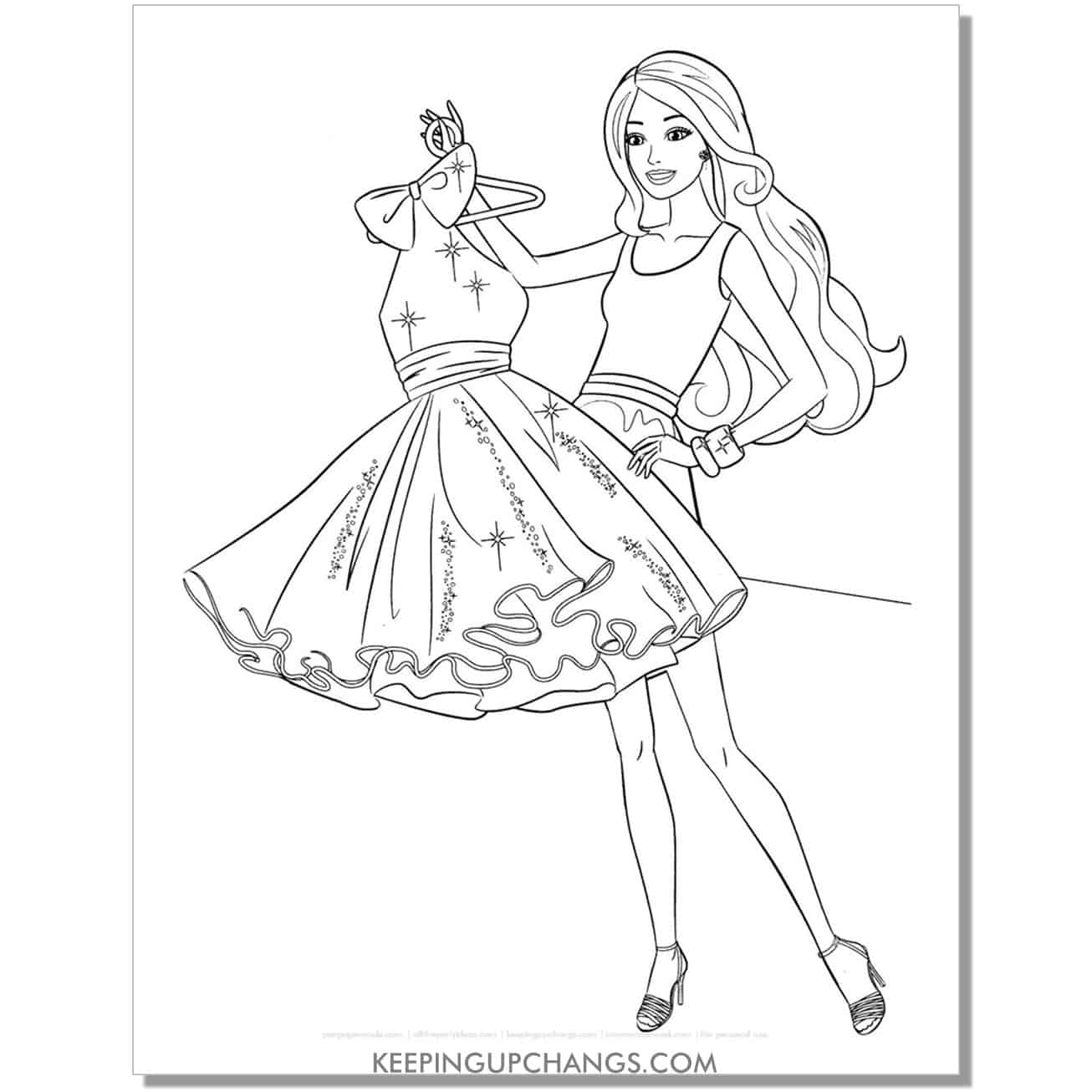 barbie holding up short gown coloring page.