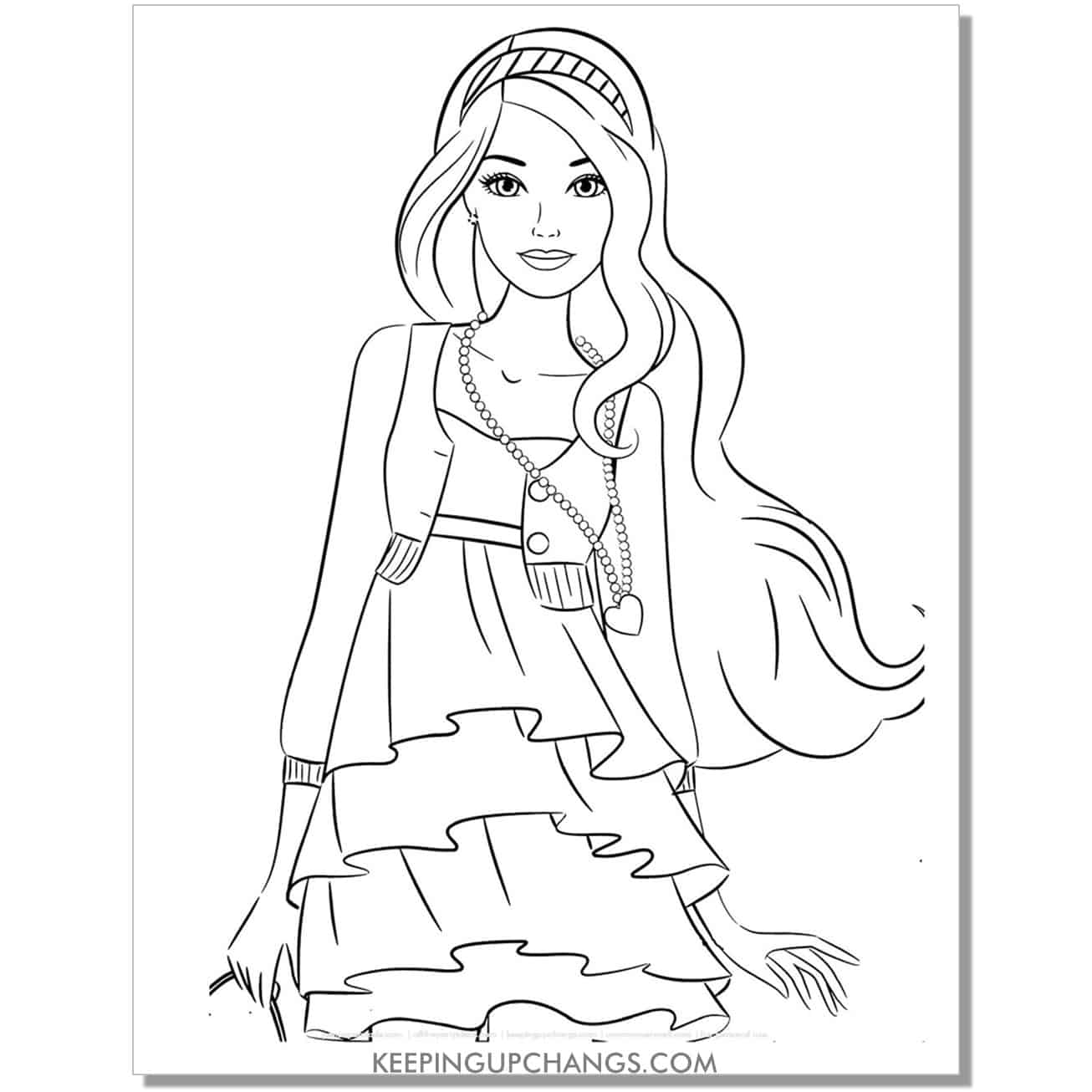 teen barbie with heart necklace coloring page.