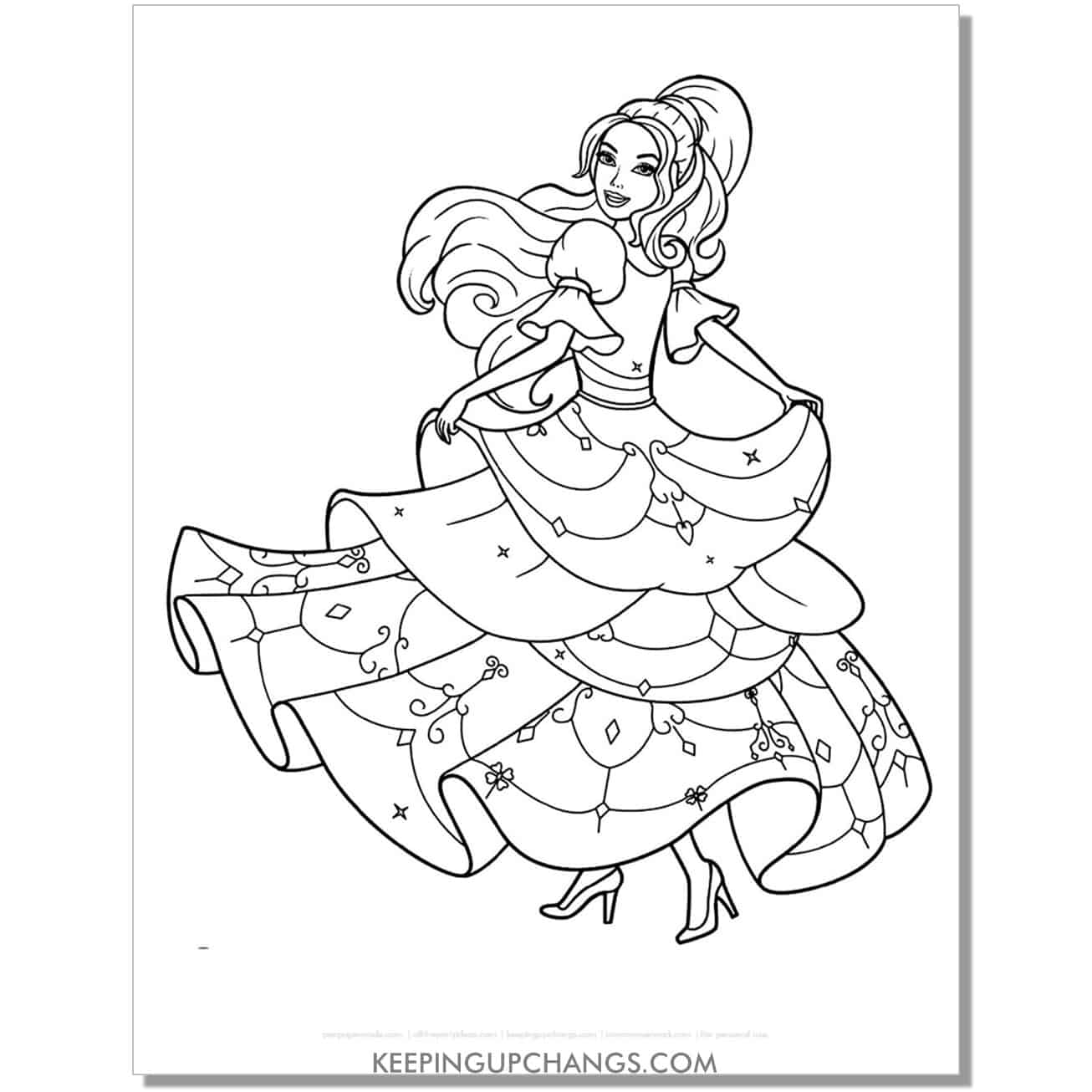 barbie twirling in princess gown coloring page.