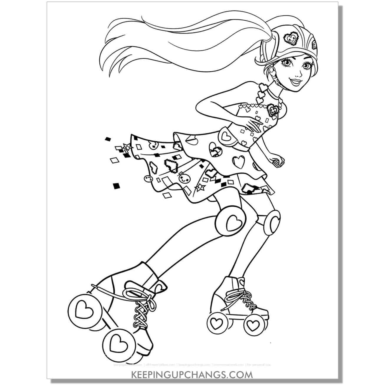tween barbie in roller skates coloring page.