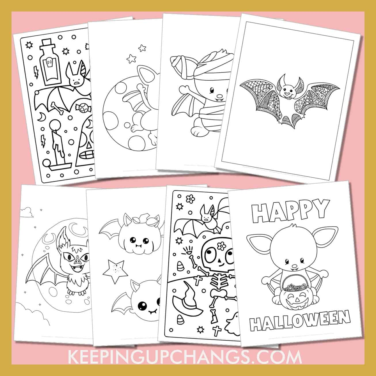 bat colouring sheets including cute clip art for kids to detailed zentangle mandala for adults.