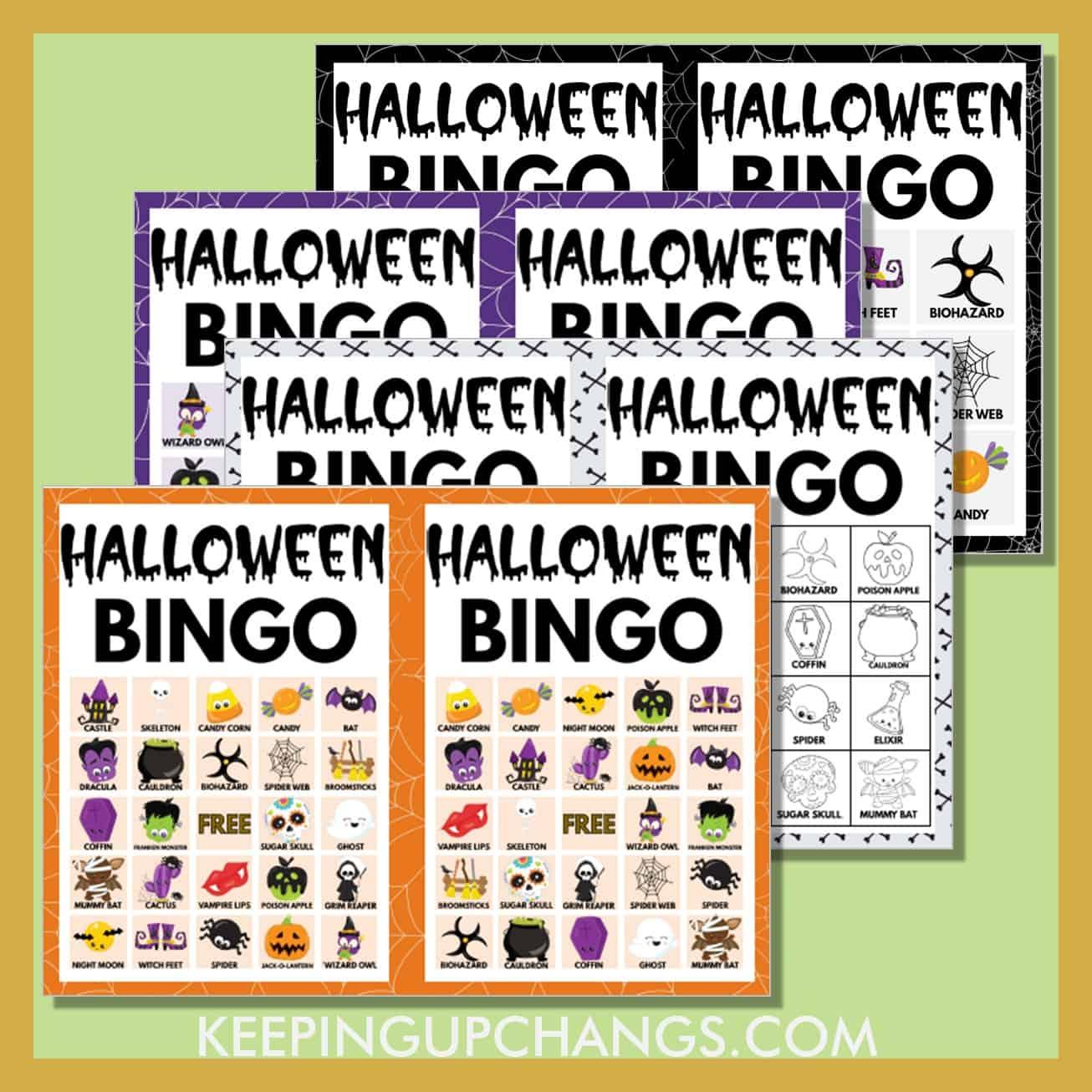 most popular free halloween bingo games including 5x5, 4x4, 3x3 grids.