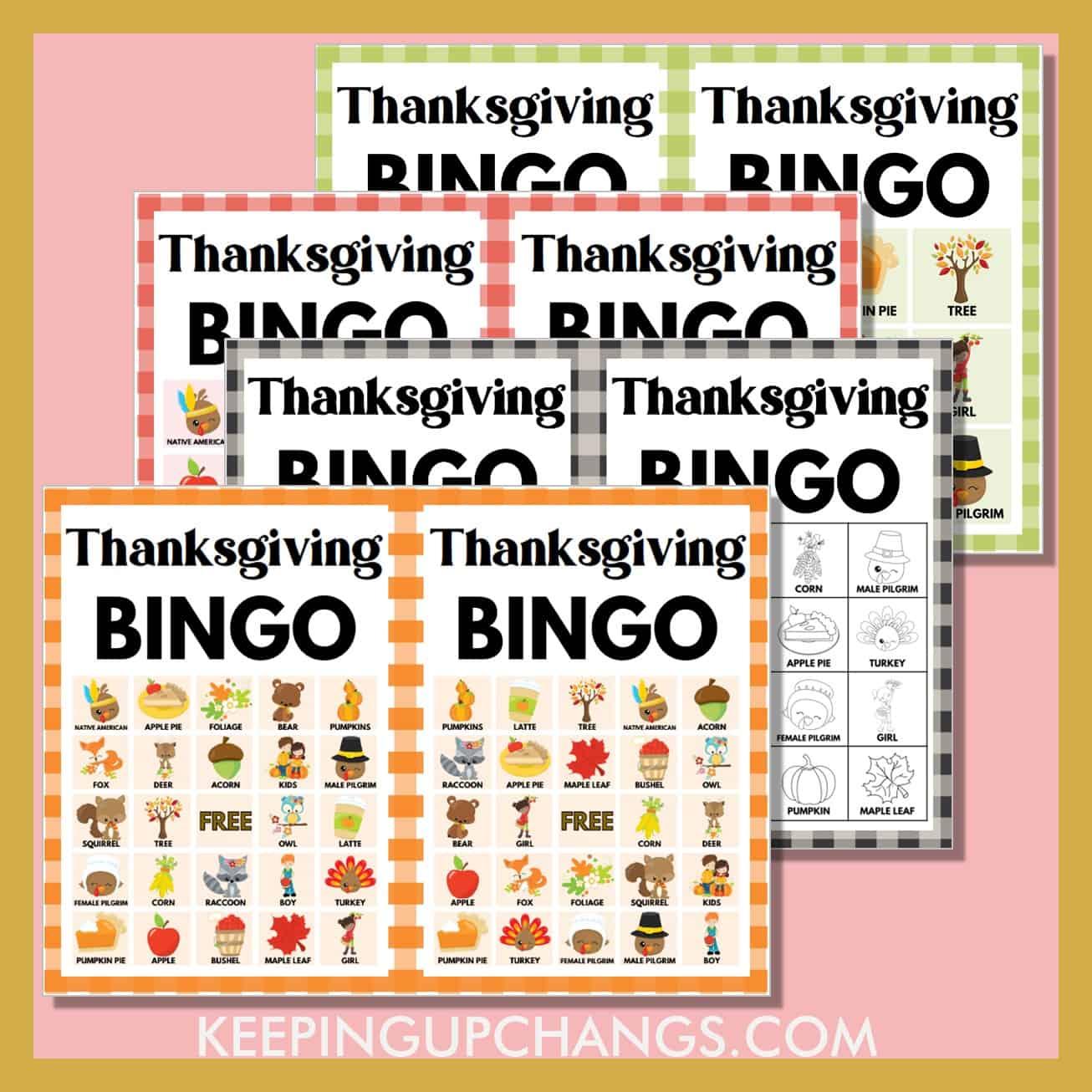 most popular free thanksgiving bingo games including 5x5, 4x4, 3x3 grids.