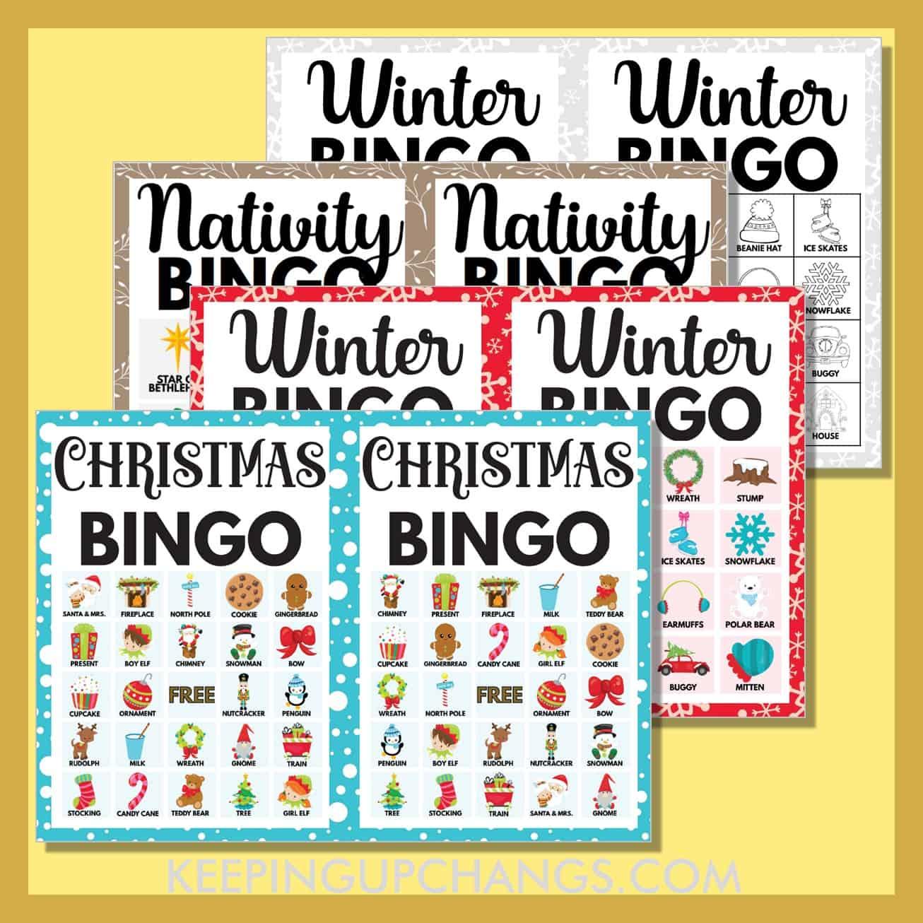 most popular free christmas bingo games including 5x5, 4x4, 3x3 grids.