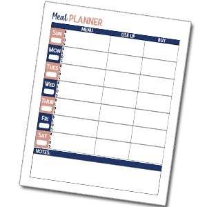 free budget meal planner template printable