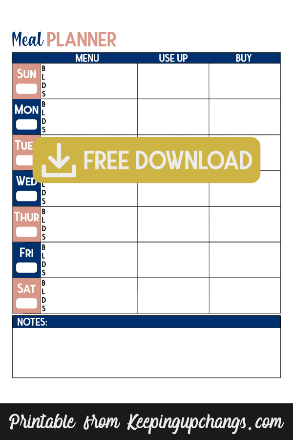 free budget meal planner template planning printable