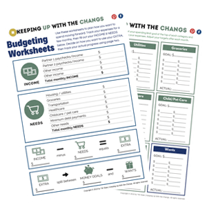 simple budget worksheet with expense tracker
