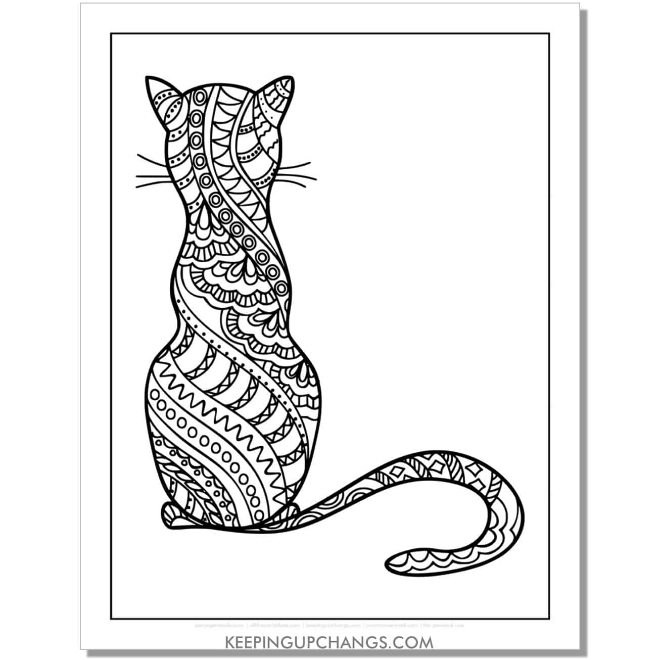 sitting black cat mandala adult halloween coloring page.