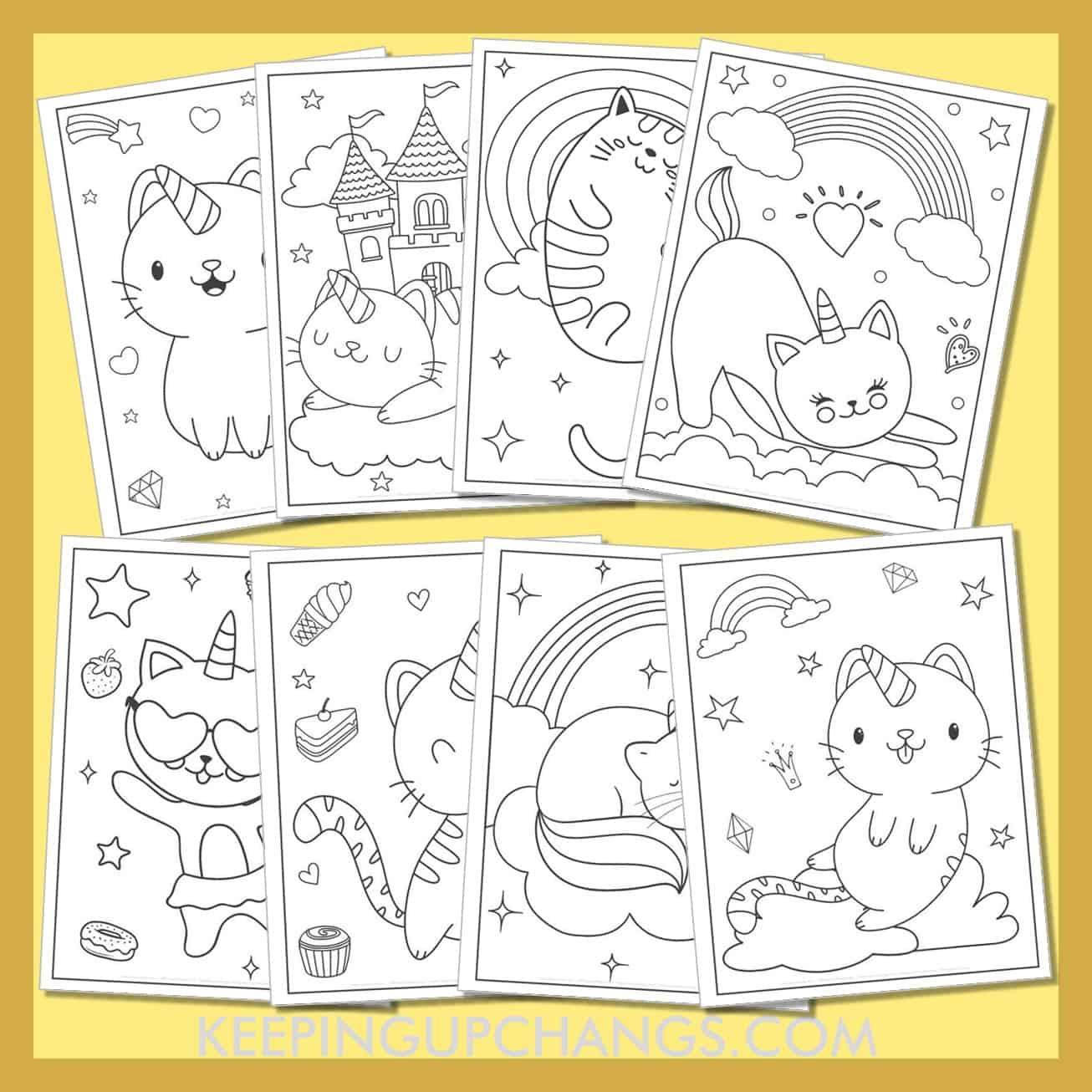 cat unicorn colouring sheets including cute, adorable caticorns like mermaid, ballerina rock star, and princess.