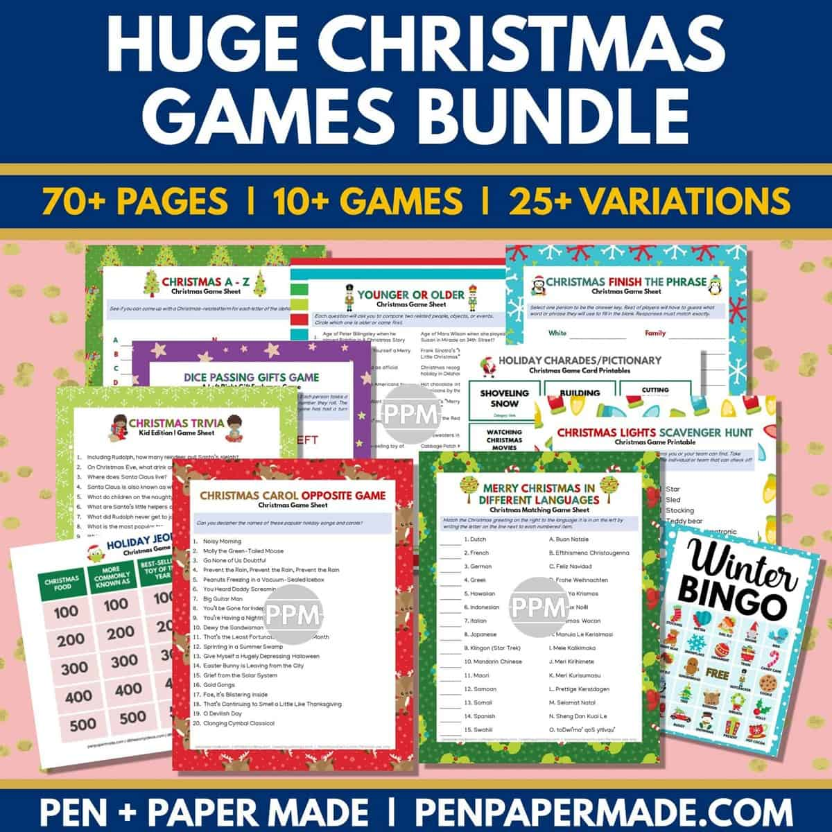 best, most popular printable christmas games bundle with bingo, jeopardy trivia and more.