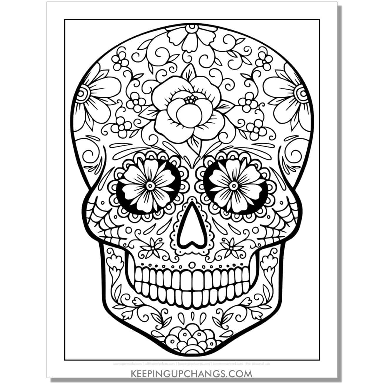 floral candy skull coloring page.