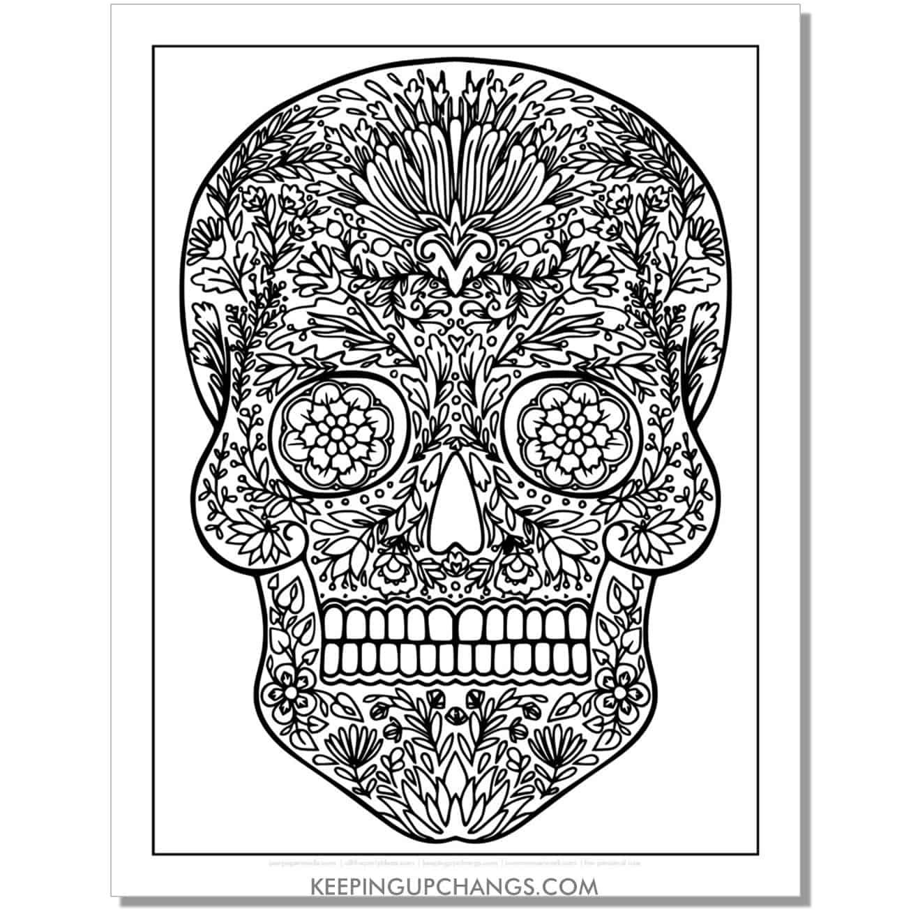 intricate sugar skull calavera coloring page.