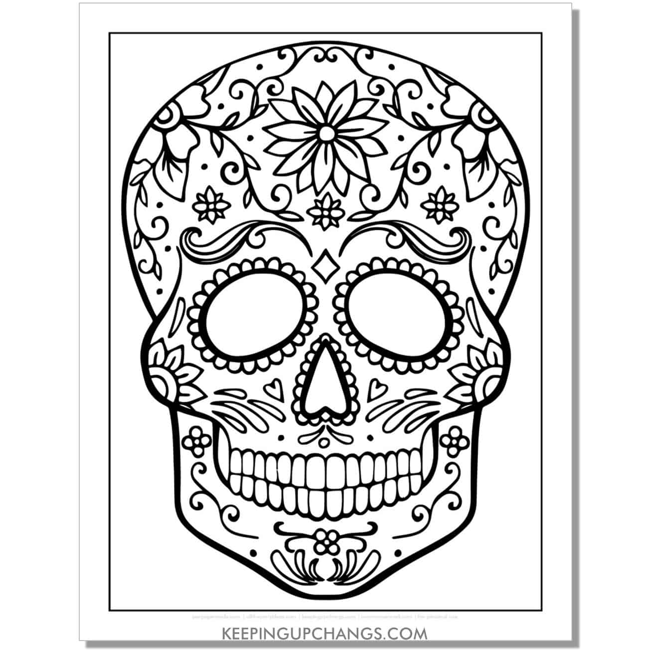 easy sugar skull design coloring page.