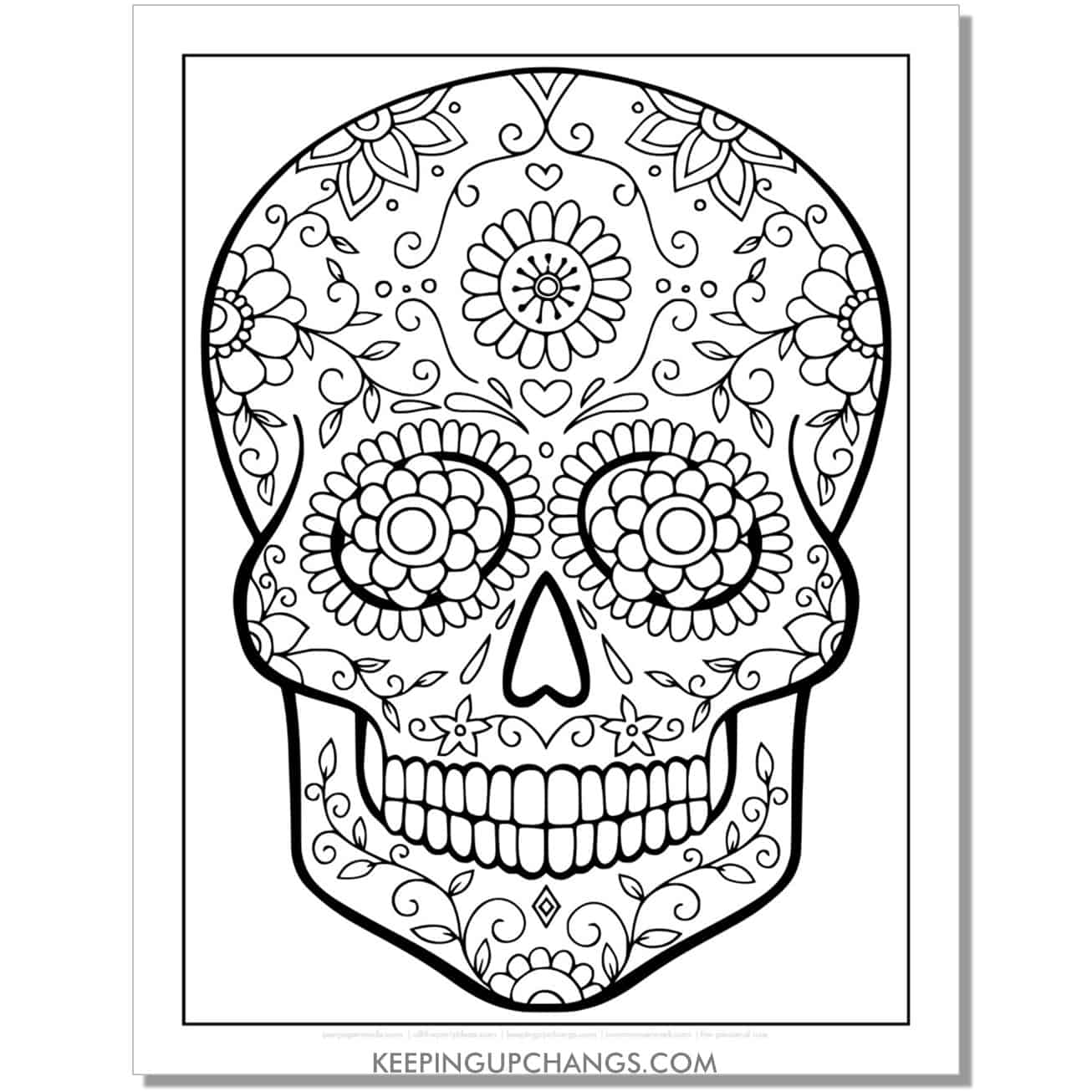 intermediate flower candy skull coloring page.