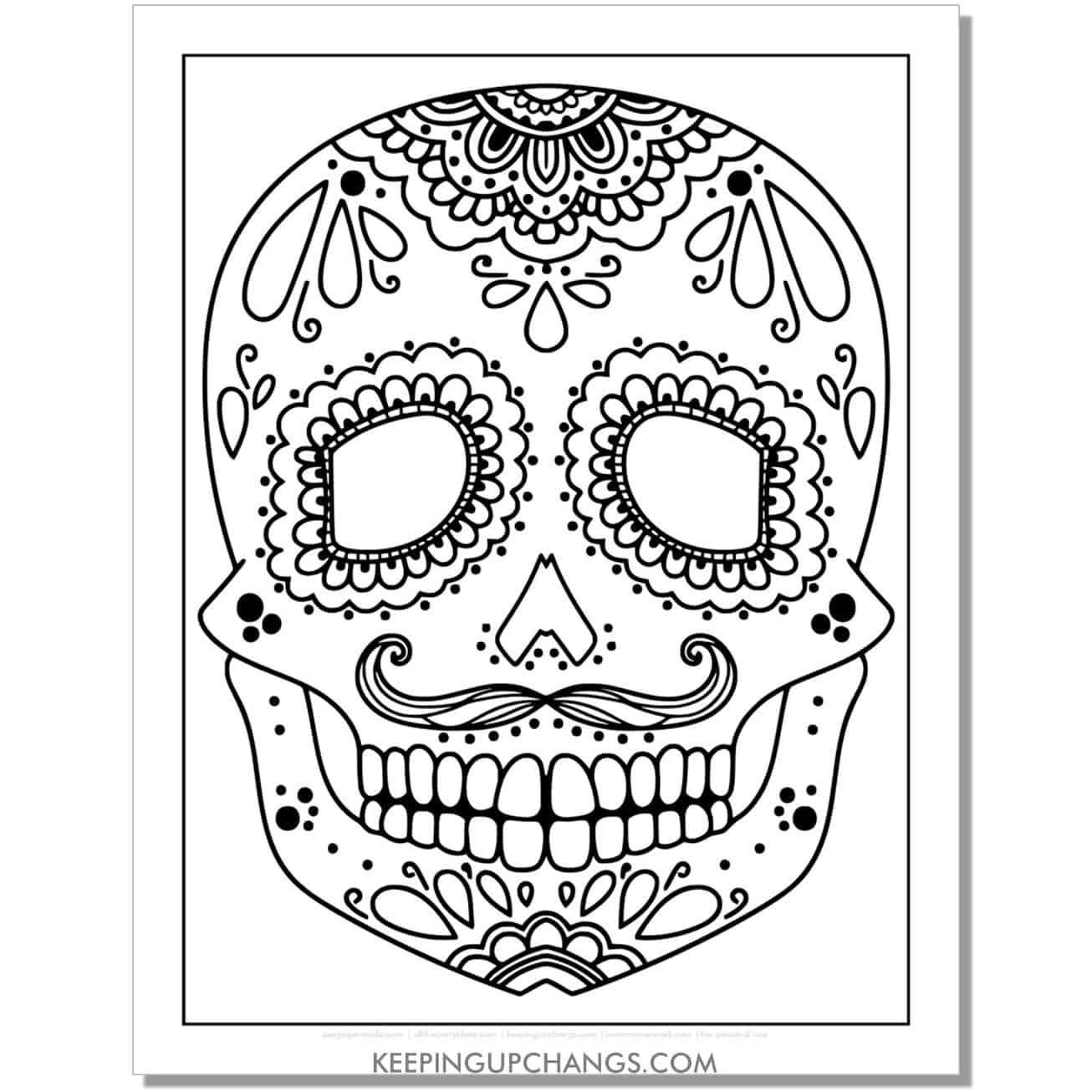 simple hand drawn sugar skull with mustache coloring page.