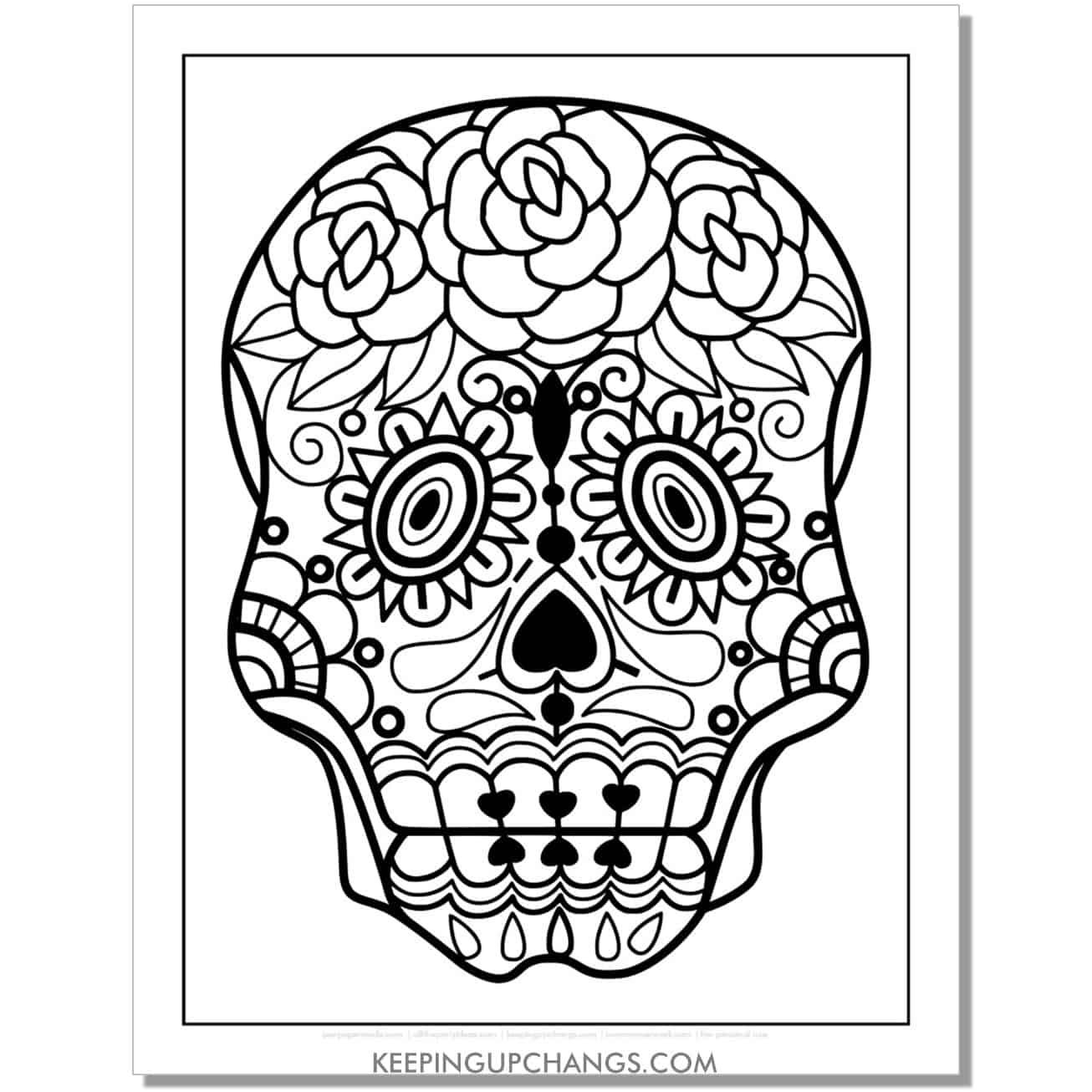 beginner sugar skull coloring page.