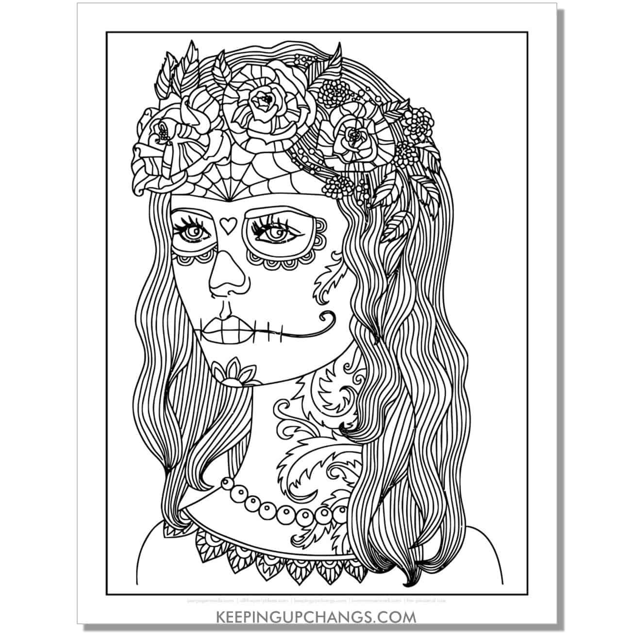 girl dia de los muertos coloring page.