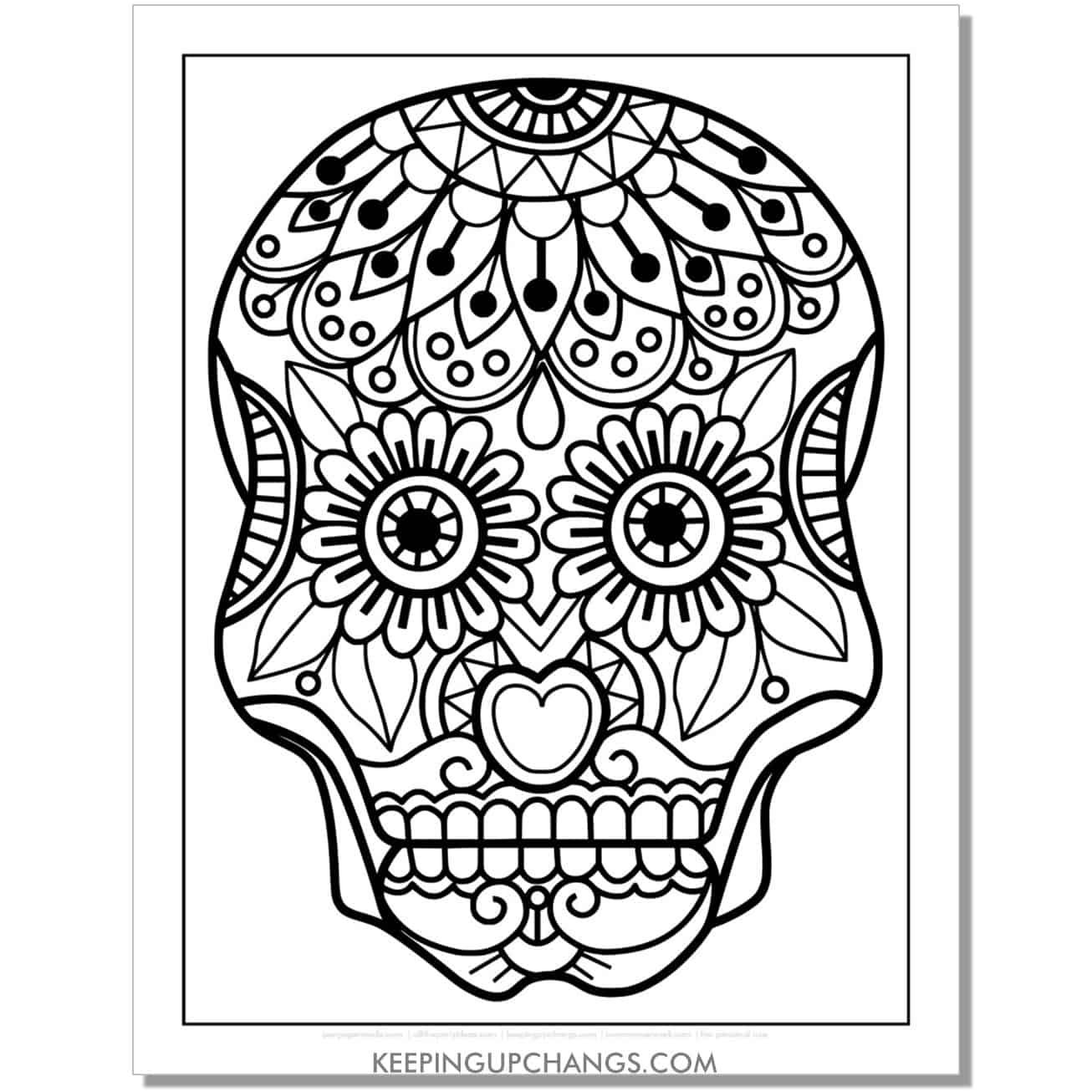 easy mandala sugar skull coloring page.