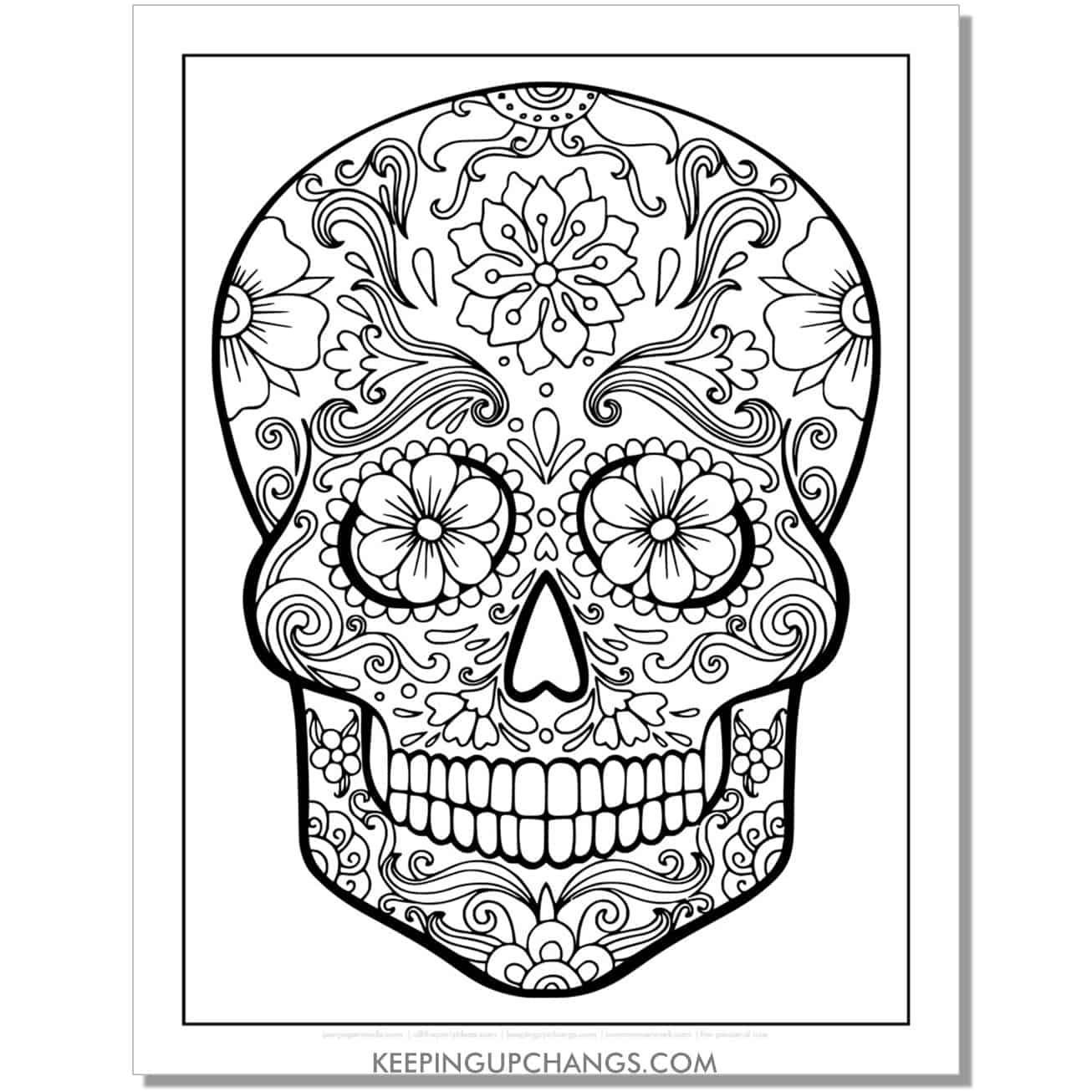 simple sugar skull coloring page.