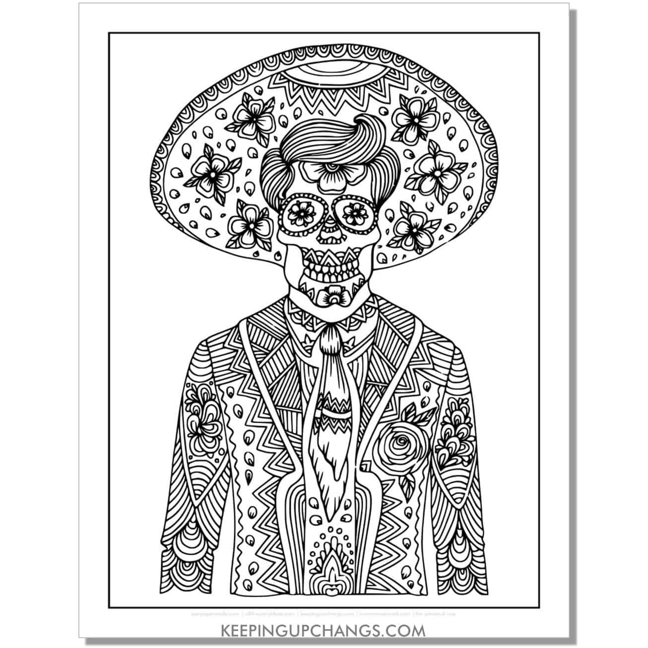 male in tuxedo dia de los muertos coloring page.
