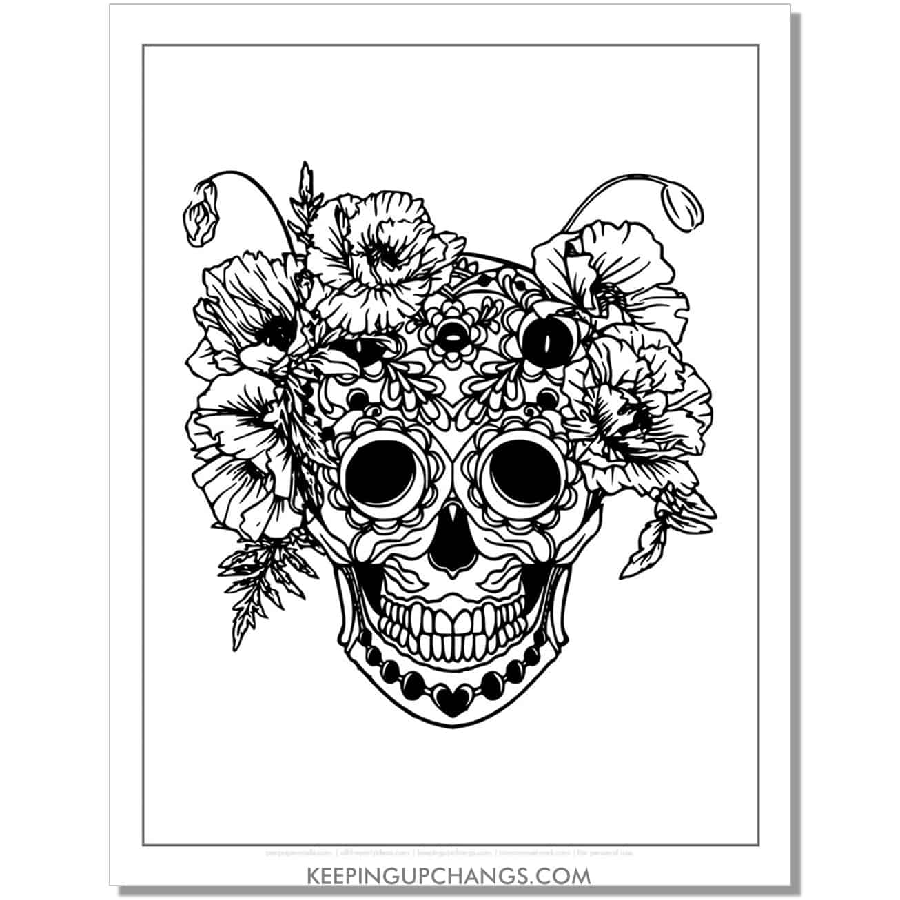 scary skeleton with flowers at top coloring page.