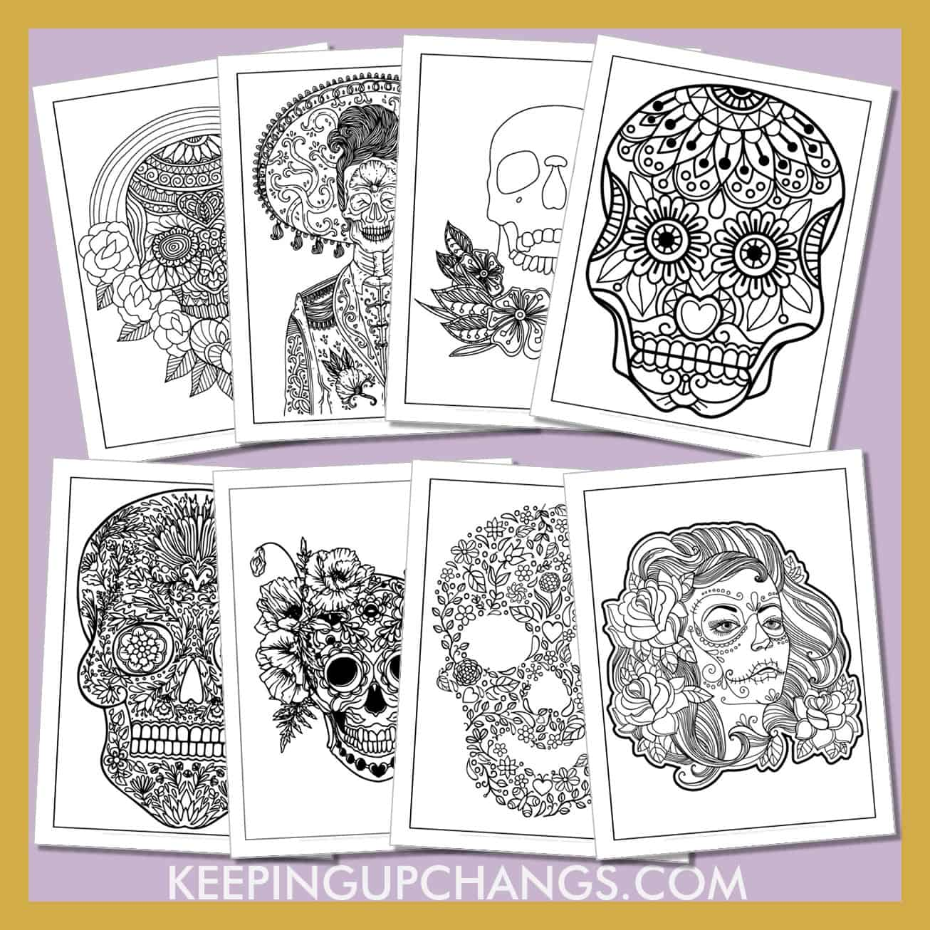 day of the dead sugar skull colouring sheets including female, male, death masks, roses, mandalas, flowers.