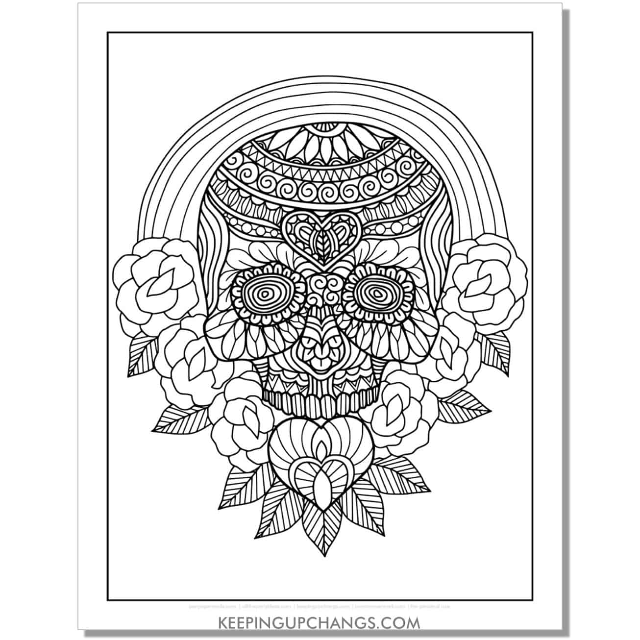 detailed sugar skull with rainbow and roses coloring page.
