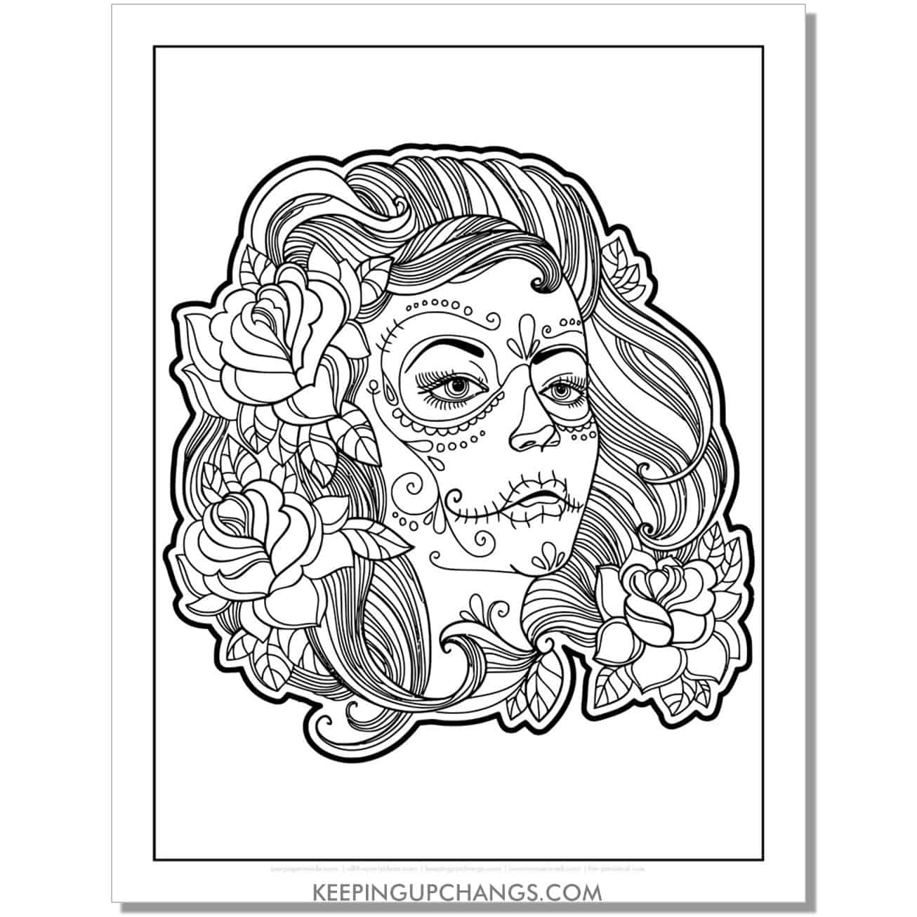 dia de los muertas girl with roses coloring page.