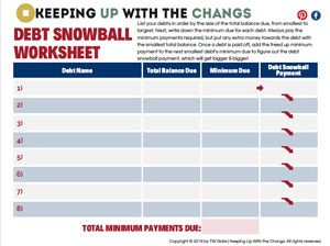 debt snowball worksheet tracker printable