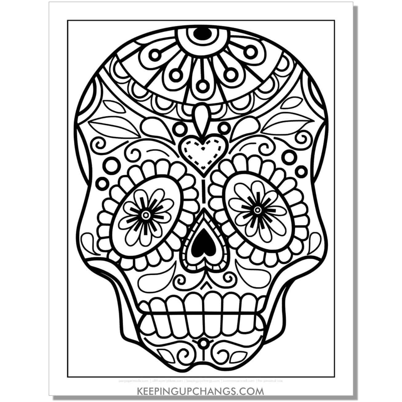 easy heart mandala sugar skull coloring page.