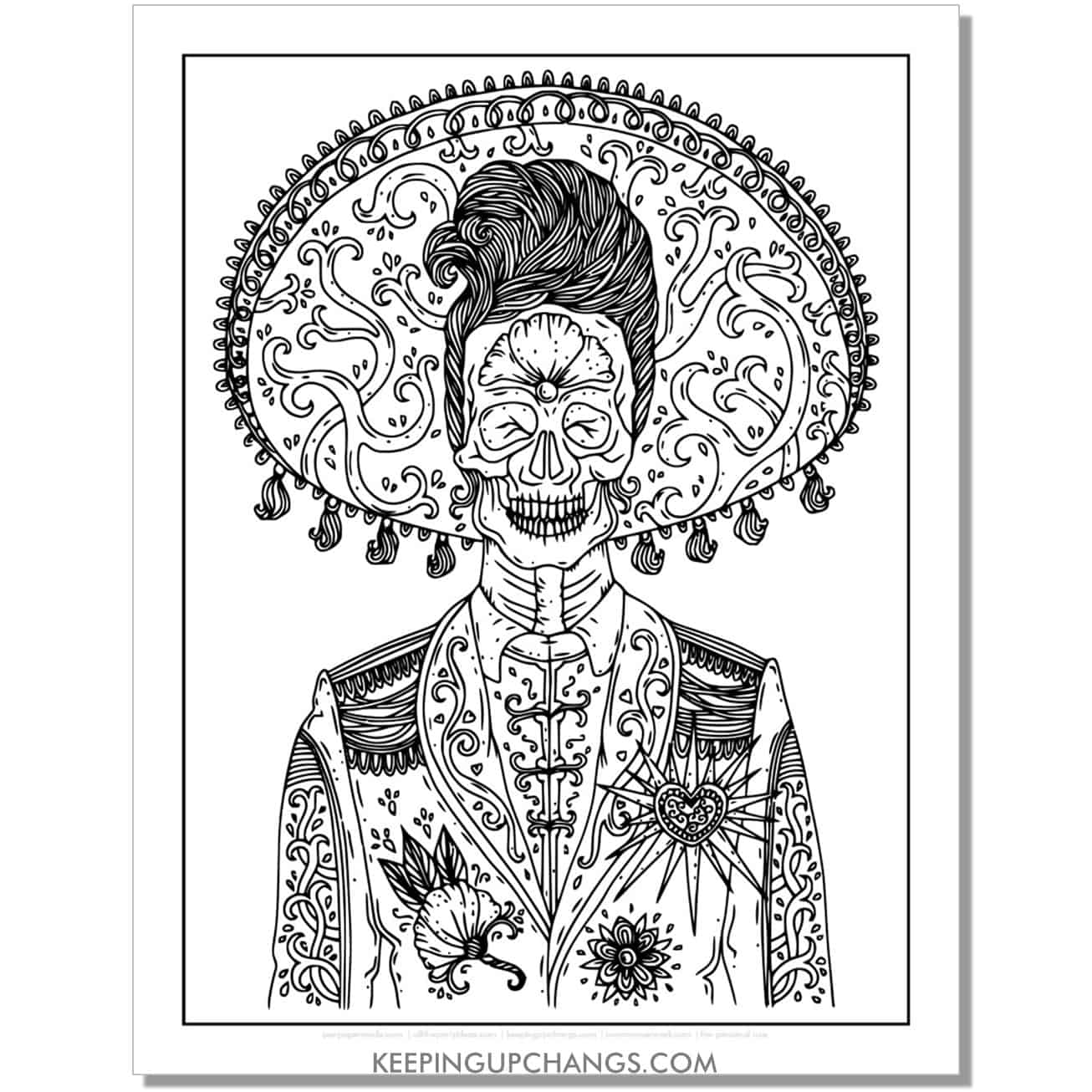day of the dead male in sombrero coloring page.