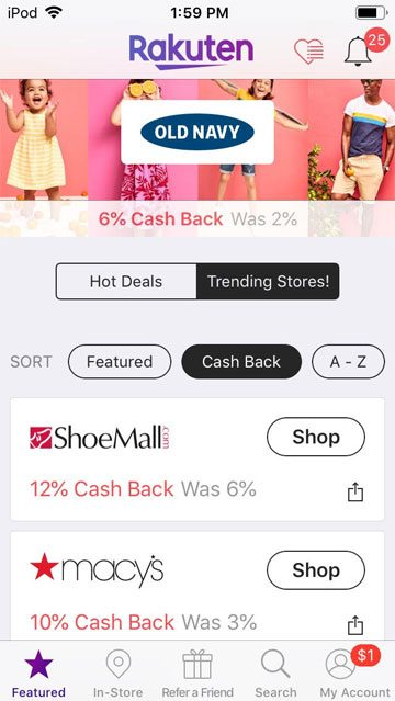 ebates review - screenshot of stores in ebates app