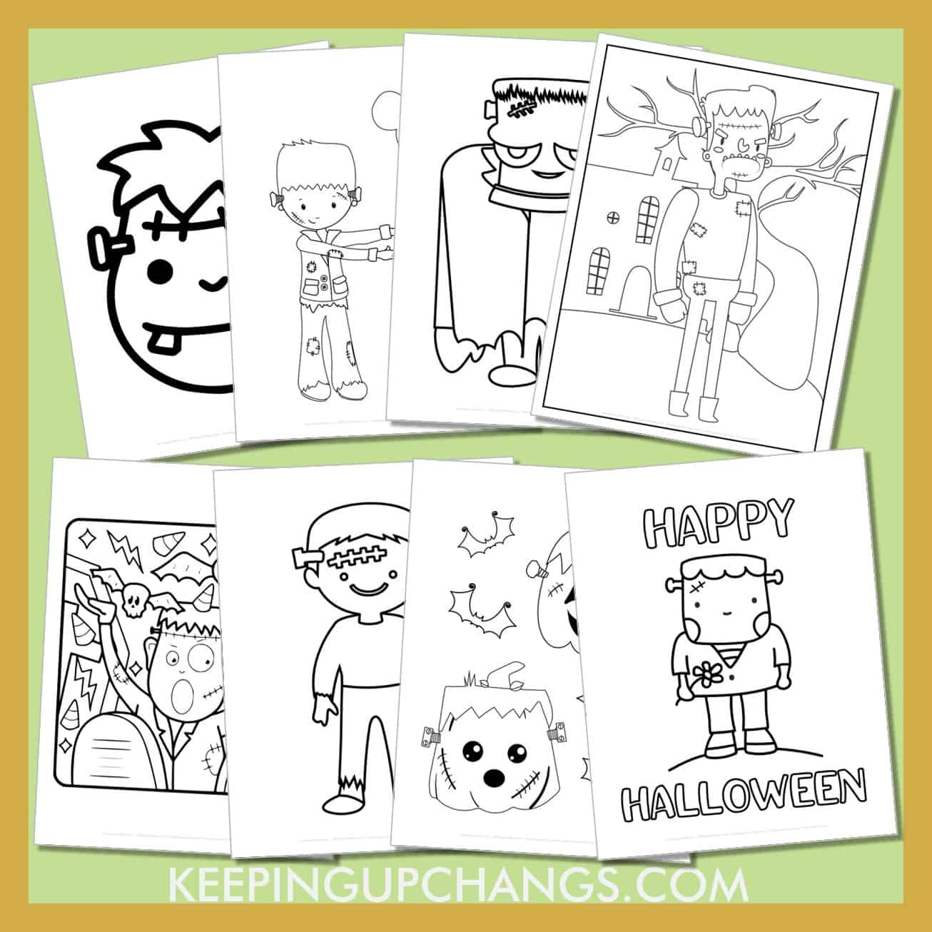 frankenstein colouring sheets including cute baby cartoon to realistic classic movie monster.