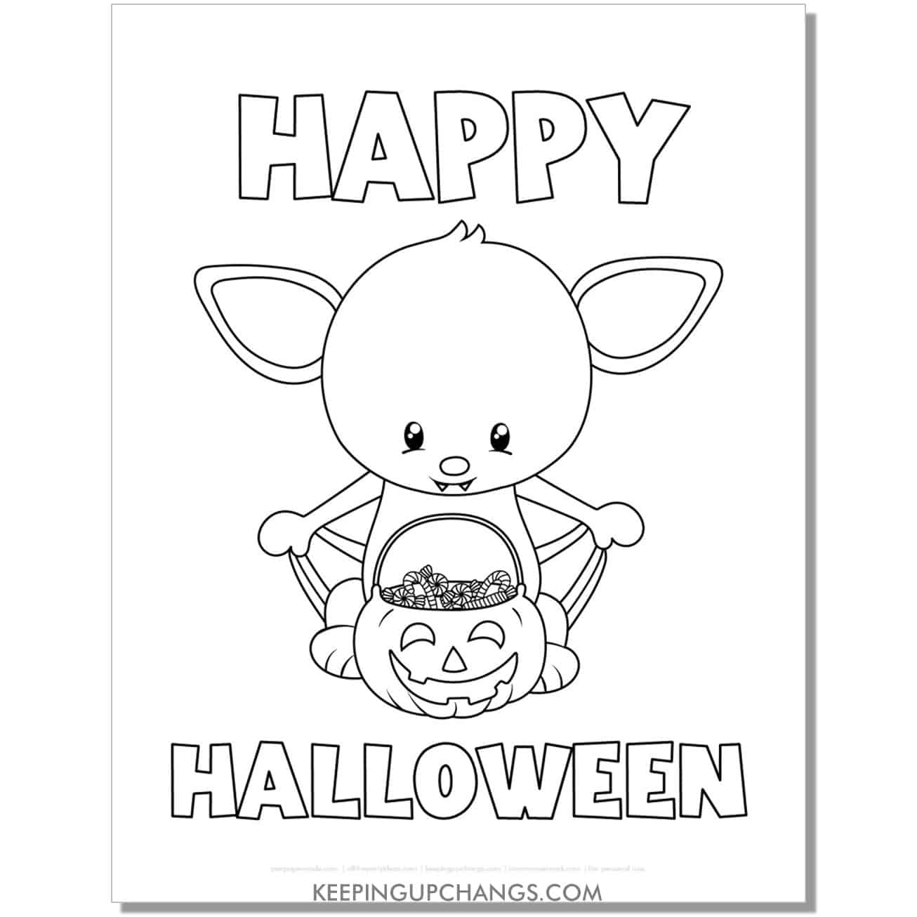 free happy halloween bat trick or treat basket coloring page.