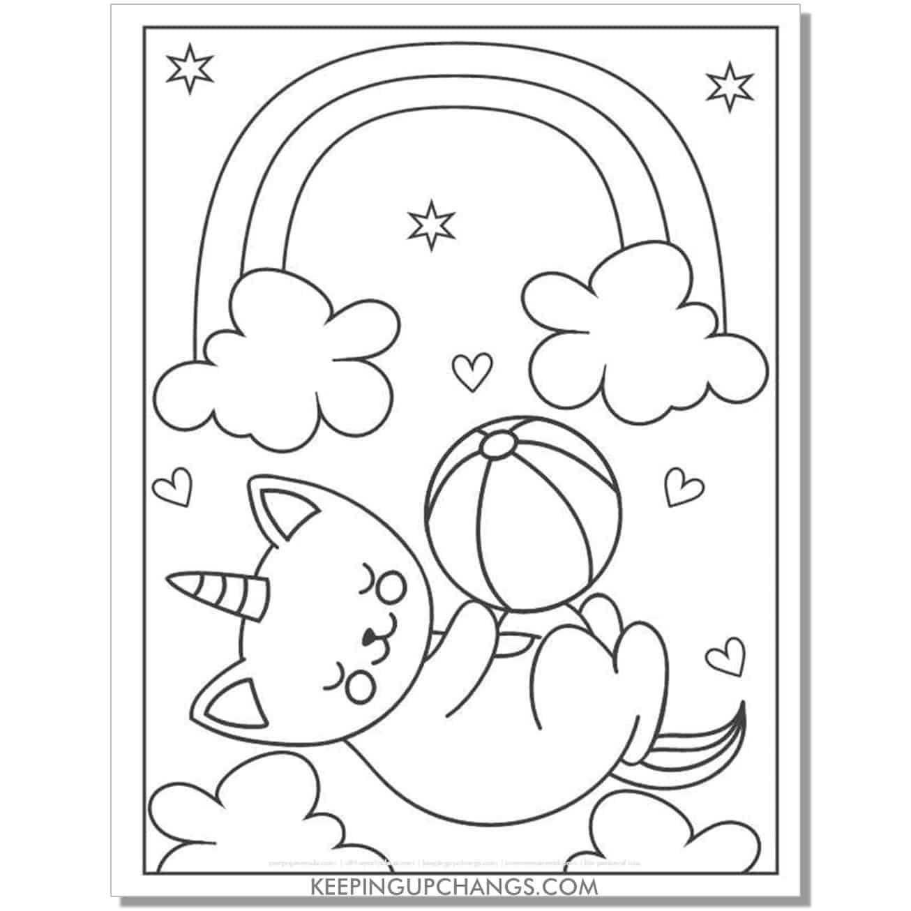 cat unicorn beach ball coloring page.