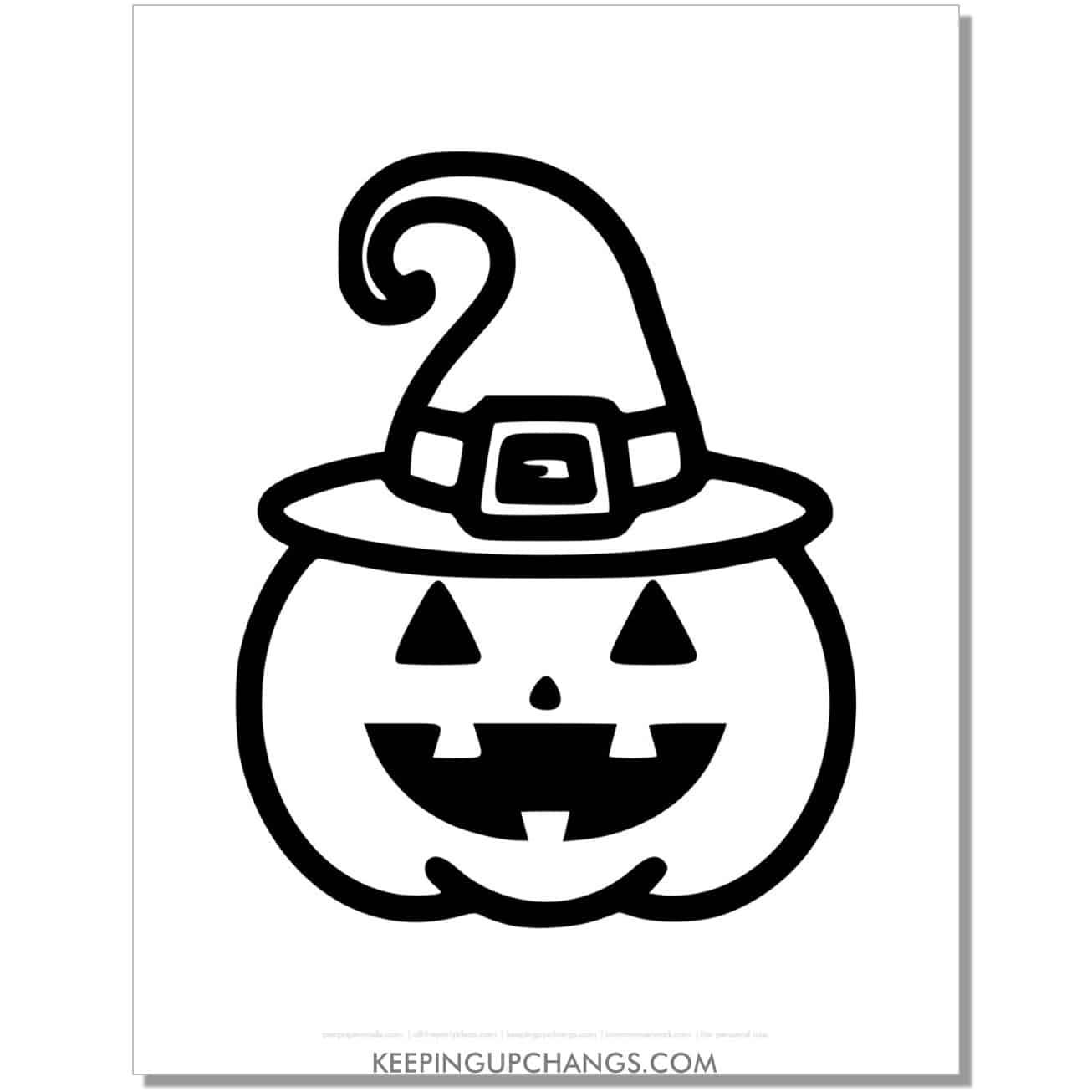 free halloween pumpkin witch hat emoji coloring page.